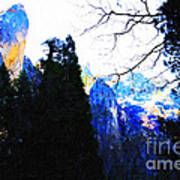 Yosemite Snow Top Mountains Print by Wingsdomain Art and Photography