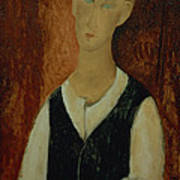 Young Man With A Black Waistcoat Print by Amedeo Modigliani