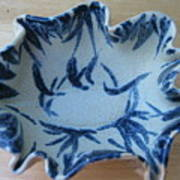 Blue Leafy Bowl Print by Julia Van Dine
