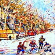 Hockey Game On Colonial Street  Near Roy Montreal City Scene Print by Carole Spandau