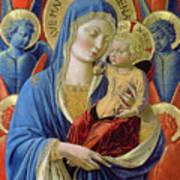 Virgin And Child With Angels Print by Benozzo di Lese di Sandro Gozzoli