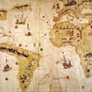 Vespucci's World Map, 1526 Print by Granger