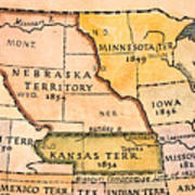 Kansas-nebraska Map, 1854 Print by Granger