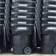 Black Garbage Bins Print by Don Mason