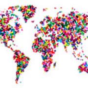 Butterflies Map Of The World Print by Michael Tompsett