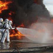 Firefighting Marines Battle A Huge Print by Stocktrek Images