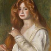 Girl Combing Her Hair Print by Pierre Auguste Renoir