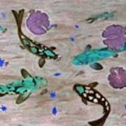 Koi Fish Feng Shui Print by Georgeta  Blanaru