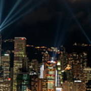 Laser Show Over City At Night Print by Sami Sarkis