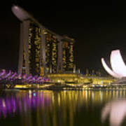 Marina Bay Sands Hotel And Artscience Museum In Singapore Print by Zoe Ferrie
