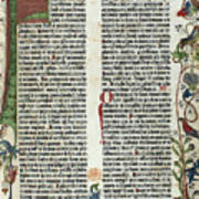 Page Of The Gutenberg Bible, 1455 Print by Photo Researchers