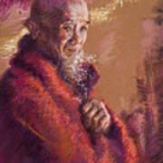 Portrait Of A Monk Print by Ellen Dreibelbis