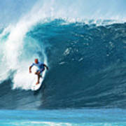 Pro Surfer Kelly Slater Surfing In The Pipeline Masters Contest Print by Paul Topp