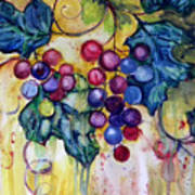 Red Water Color Grapes Print by Peggy Wilson