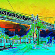 San Francisco Embarcadero And The Bay Bridge Print by Wingsdomain Art and Photography