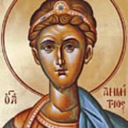 St Demetrios The Great Martyr And Myrrhstreamer Print by Julia Bridget Hayes