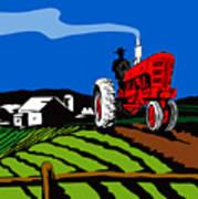 Vintage Tractor Retro Print by Aloysius Patrimonio