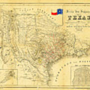 1849 Texas Map Print by Bill Cannon