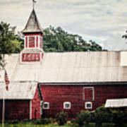 1886 Red Barn Print by Lisa Russo