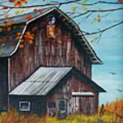 1980 Barn Print by Linda Simon
