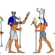 Egyptian Gods And Goddess Print by Michal Boubin