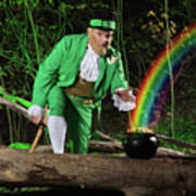 Leprechaun With Pot Of Gold Print by Oleksiy Maksymenko