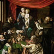 Madonna Of The Rosary Print by Caravaggio