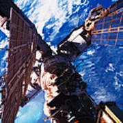 A Space Station Orbiting Above The Earth Print by Stockbyte