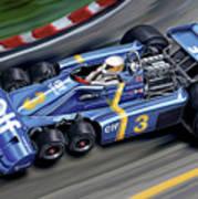 6 Wheel Tyrrell P34 F-1 Car Print by David Kyte