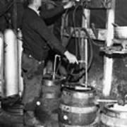 A Brewmeister Fills Kegs At A Bootleg Print by Everett