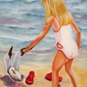 A Day At The Beach Print by Joni McPherson