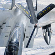 A F-15 Eagle Refuels Behind A Kc-135 Print by Stocktrek Images