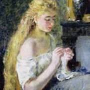 A Girl Crocheting Print by Pierre Auguste Renoir