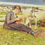 A Girl Knitting Print by Giovanni Segantini