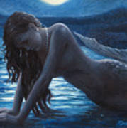 A Mermaid In The Moonlight - Love Is Mystery Print by Marco Busoni