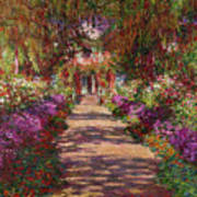 A Pathway In Monets Garden Giverny Print by Claude Monet