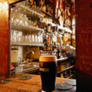 A Pint Of Dark Beer Sits In A Pub Print by Jim Richardson