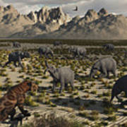 A Sabre-toothed Tiger Stalks A Herd Print by Mark Stevenson