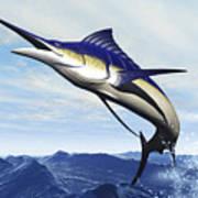 A Sleek Blue Marlin Bursts Print by Corey Ford