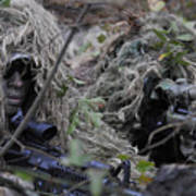 A Sniper Team Spotter And Shooter Print by Stocktrek Images