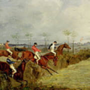A Steeplechase - Taking A Hedge And Ditch  Print by Henry Thomas Alken