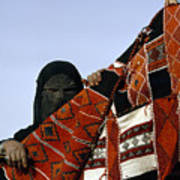 A Veiled Bedouin Woman Peers Print by Thomas J. Abercrombie