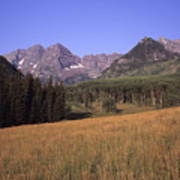 A View Of The Maroon Bells Mountains Print by Taylor S. Kennedy