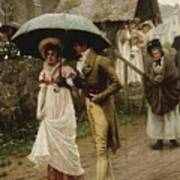 A Wet Sunday Morning Print by Edmund Blair Leighton