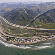 Aerial View Of Highway 1 As It Meets Print by Rich Reid
