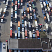 Aerial View Of Semi Trucks At Port Print by Don Mason