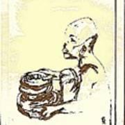 African Boy Brown Print by Sheri Parris
