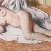 After The Bath Or Reclining Nude Print by Edgar Degas