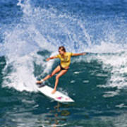 Alana Blanchard Surfing Hawaii Print by Paul Topp