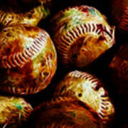 All American Pastime - A Pile Of Fastballs - Electric Art Print by Wingsdomain Art and Photography